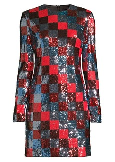 Escada Deighty Multi-Sequin Checkerboard Shift Dress