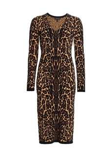 Escada Delotta Cheetah Print Midi Dress