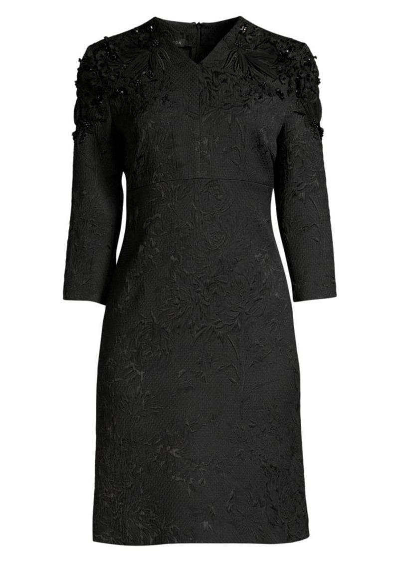 Escada Delphine Beaded Jacquard Shift Dress
