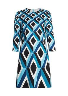 Escada Derhu Abstract Diamond Shift Dress