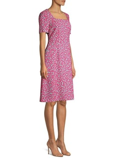 Escada Devenev Squareneck A-Line Dress