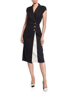 Escada Dhana Cap-Sleeve Kick Slit Dress