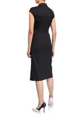 Escada Dhana Cap-Sleeve Kick Slit Dress