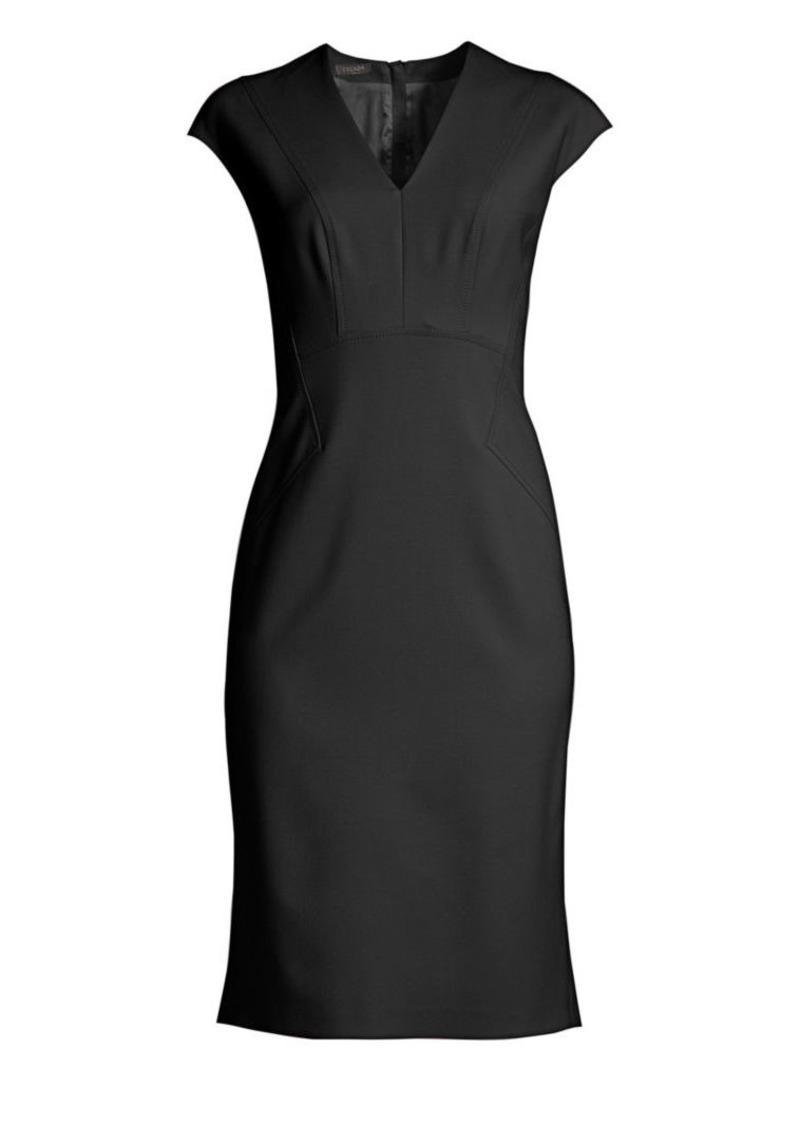 Escada Dhavva Cap-Sleeve Wool Sheath Dress