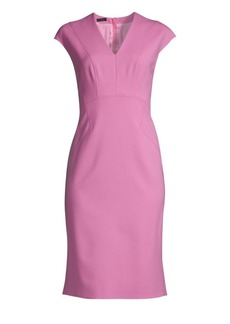 Escada Dhavva Cap-Sleeve Wool Sheath Dress