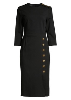 Escada Dhenia Three-Quarter Sleeve Button Dress