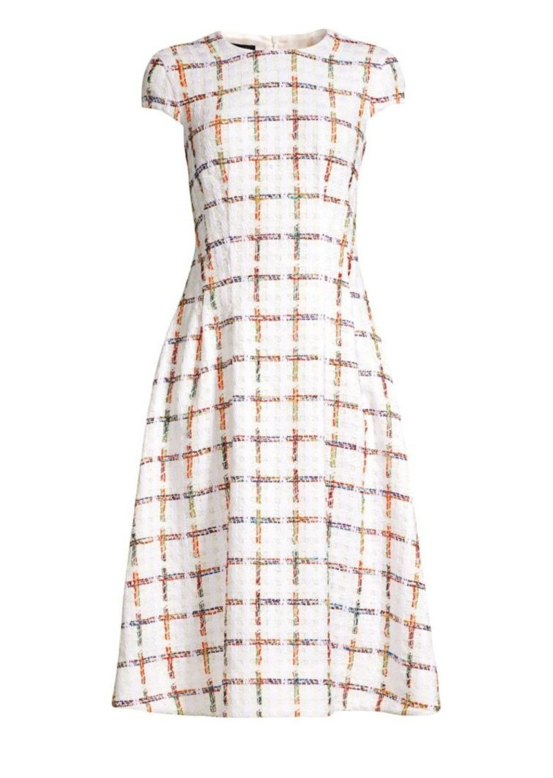 Escada Dhima Cap Sleeve Rainbow Windowpane Check Dress