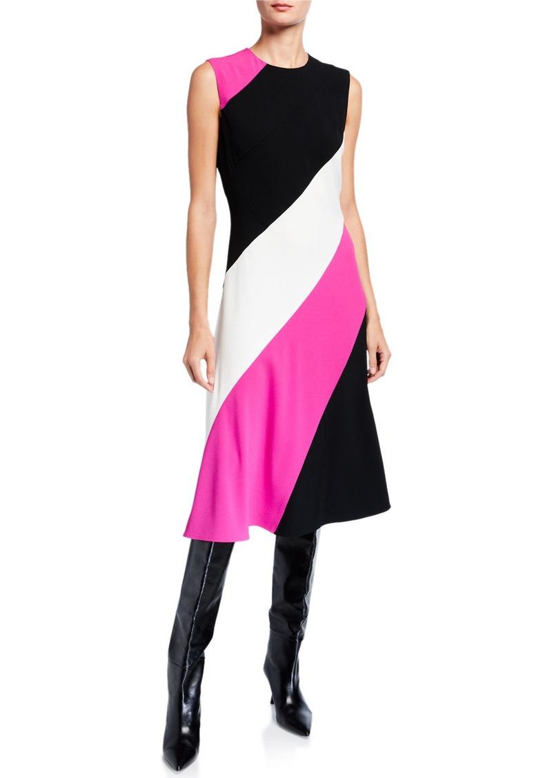 Escada Diagonal Striped Bias-Cut Dress