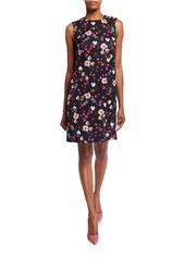 Escada Diarra Sleeveless Floral-Print Twill Dress