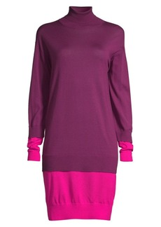 Escada Dilara Colorblock Virgin Wool Turtleneck Sweater Dress
