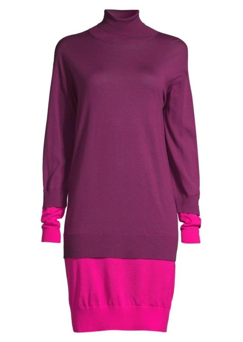 Escada Dilara Colorblock Virgin Wool Turtleneck Sweater Dress