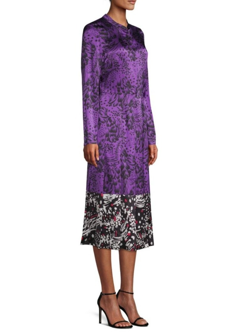Escada Dillasa Splatter Print Silk Midi-Dress