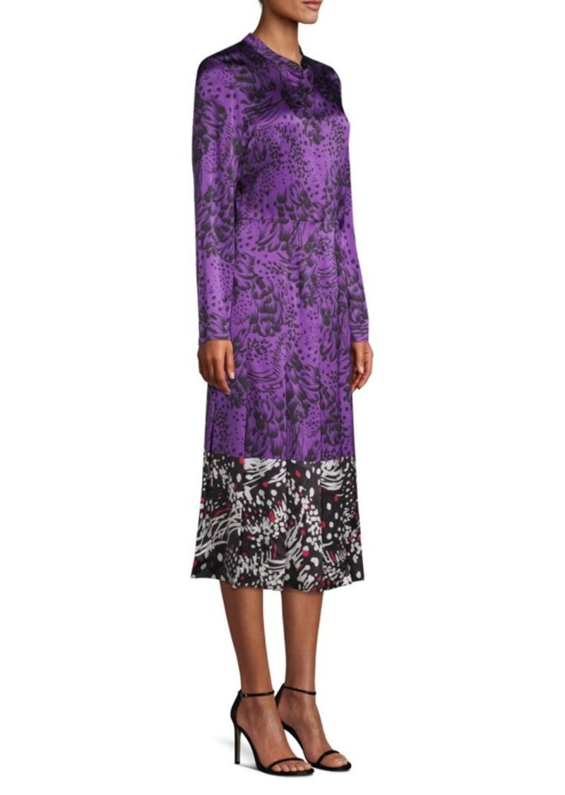 Escada Dillasa Splatter Print Silk Midi-Dress