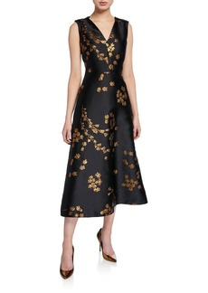 Escada Dimiwa Floral Shantung Midi Dress