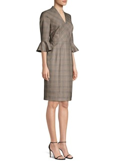 Escada Dinfo Plaid Ruffle-Sleeve Sheath Dress