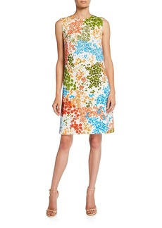 Escada Dinisa Leaf-Print Sleeveless Dress