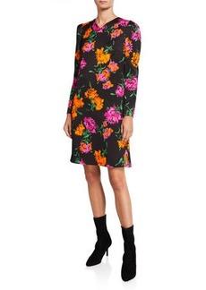 Escada Dleah Floral-Print Crepe Long-Sleeve Dress