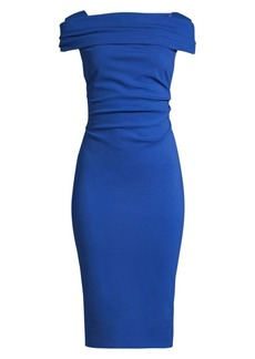 Escada Dosa Ruched Cap-Sleeve Jersey Dress