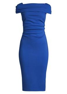 Escada Dosa Ruched Cap-Sleeve Jersey Dress