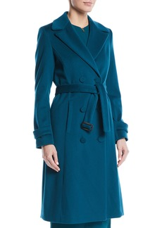 Escada Double-Breasted Self-Belt Wool Coat w/ Piping