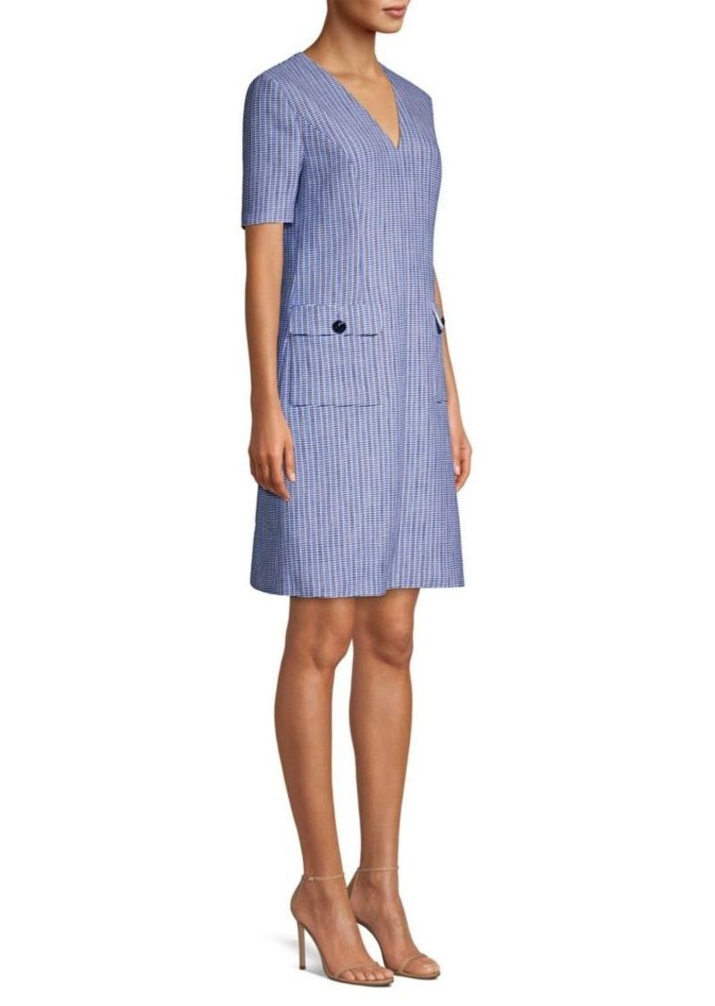 Escada Duanne Basketweave Print Short-Sleeve Shift Dress