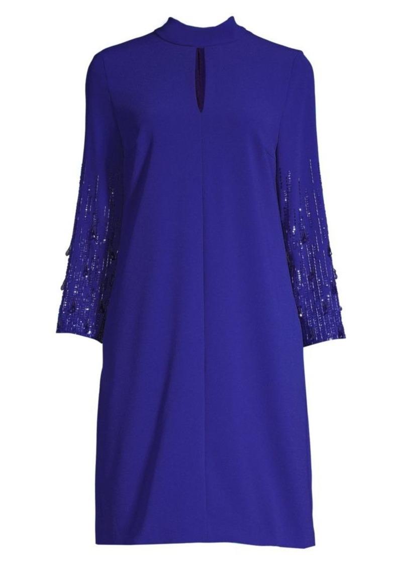 Escada Duavah Beaded-Sleeve Crepe Dress