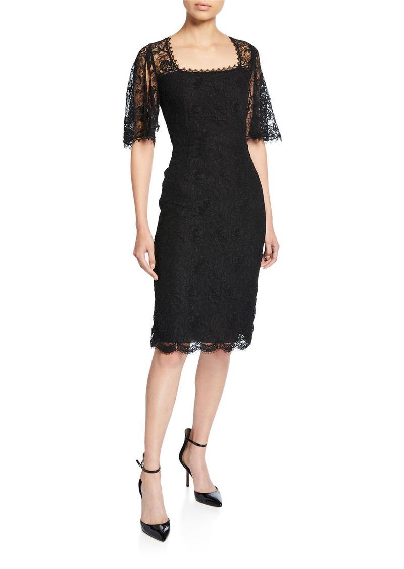 Escada Dullja Lace Square-Neck Split-Sleeve Dress