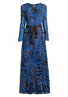 Escada Dyma Zebra Pleated Maxi Dress