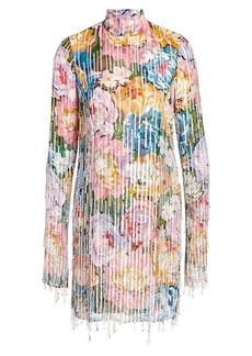 Escada Embellished Floral Silk Highneck Dress