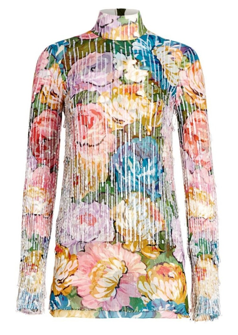 Escada Embellished Floral Silk Highneck Top