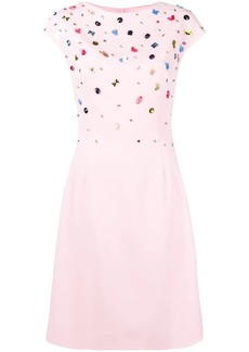 Escada embellished top flared dress