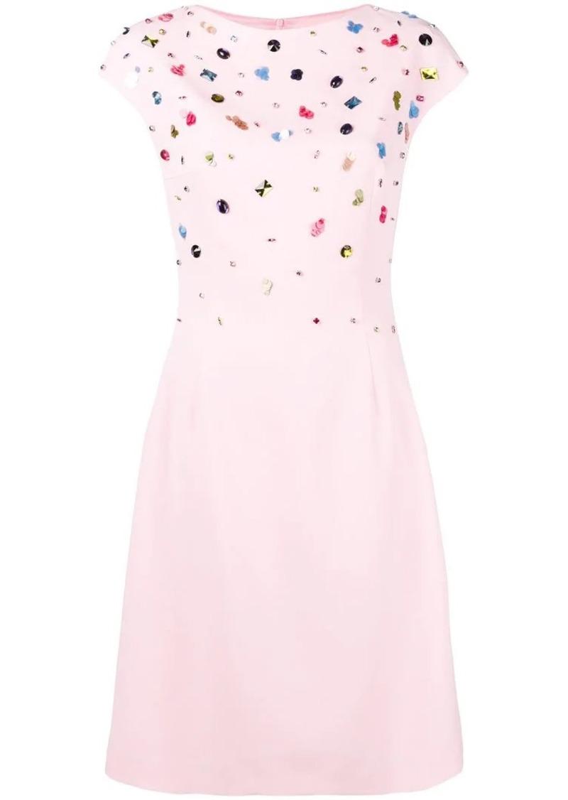 Escada embellished top flared dress