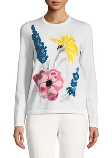 Escada Embroidered-Floral Virgin Wool Pullover Sweater