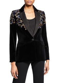 Escada Embroidered Velvet Blazer Jacket