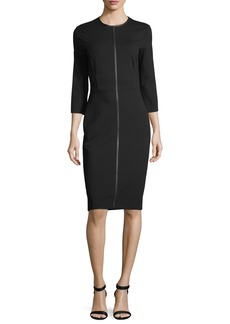 Escada 3/4-Sleeve Jersey Dress with Faux-Leather Trim