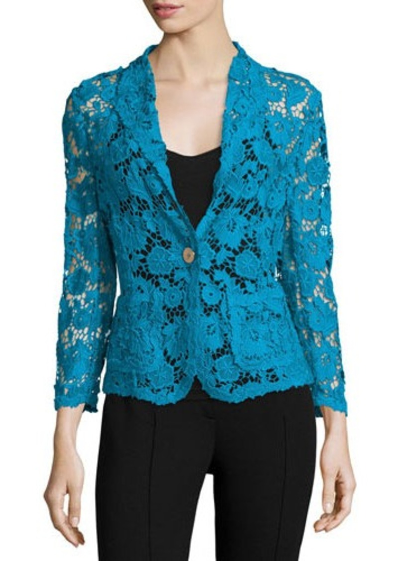 Escada 3/4-Sleeve One-Button Lace Jacket