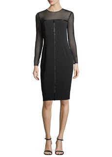 Escada Beaded Satin Long-Sleeve Cocktail Dress