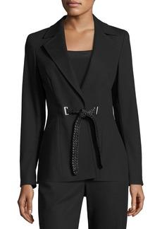 Escada Belted Notch-Collar Jacket