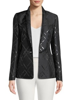 Escada Broken Plaid Jacquard Jacket