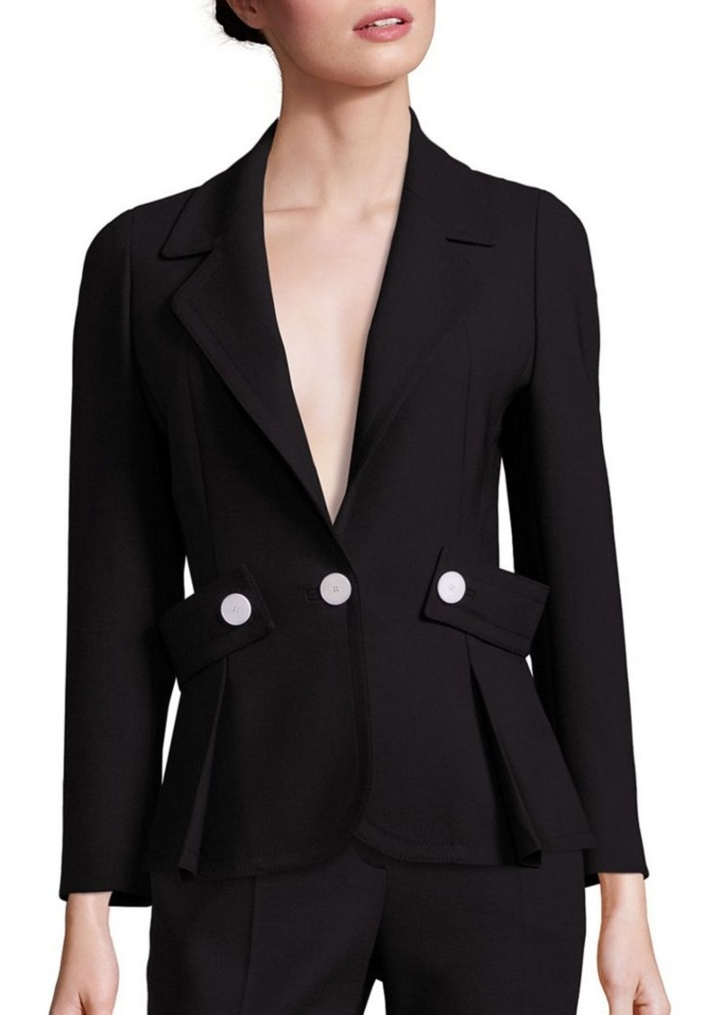 Escada Button-Detail Belted Wool Jacket