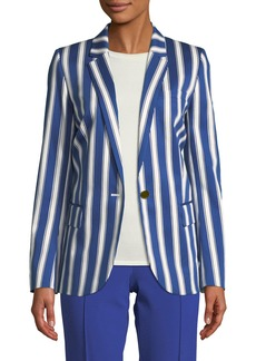 Escada Cabana-Stripe One-Button Sateen Blazer