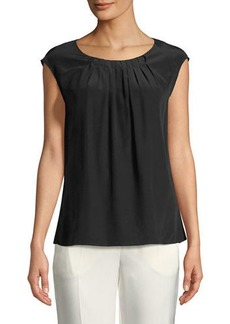 Escada Cap-Sleeve Pleated Round-Neck Silk Blouse