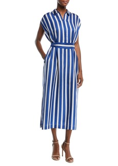 Escada Cap-Sleeve Silk Satin Striped Midi Dress