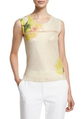 Escada Carnation-Print Sleeveless Top