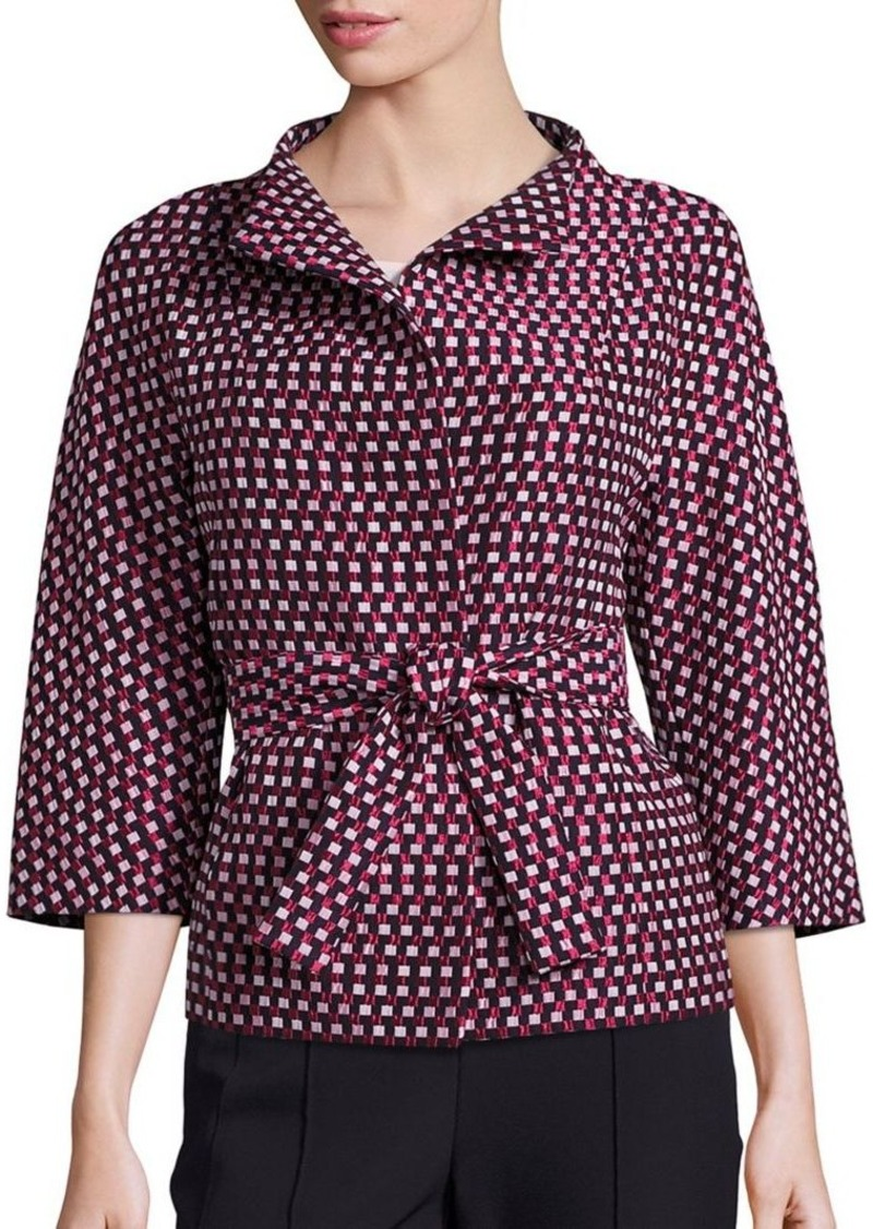 Escada Check Jacquard Belted Jacket