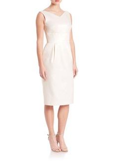 Escada Cotton & Silk V-Neck Cocktail Dress