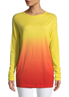 Escada Crewneck Long-Sleeve Dégradé Cashmere Tunic
