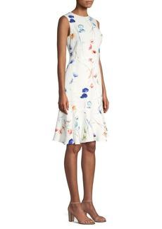 Escada Diora Sleeveless Pansy Flounce Dress