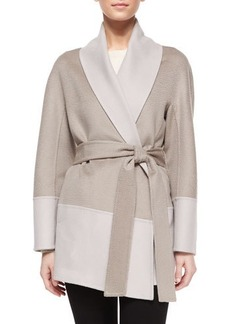Escada Double-Faced Wool/Cashmere Wrap Topper Jacket