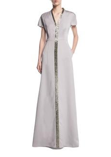 Escada Duchesse Satin Beaded V-Neck Gown